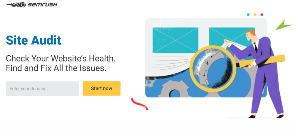 SEMrush site audit homepage