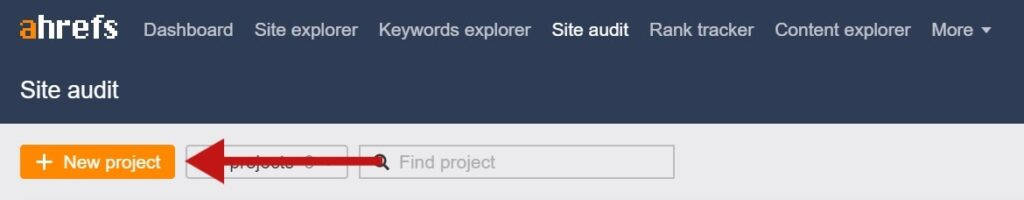 Ahrefs site audit new project