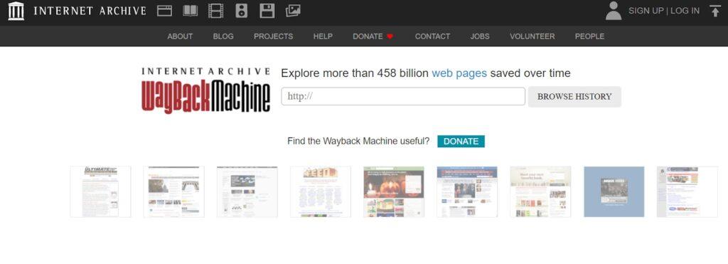 Wayback Machine internet archive homepage