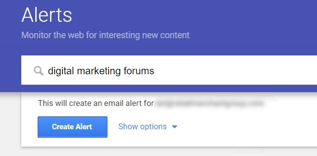 Monitoring forums through alerts
